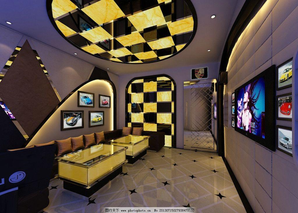 主题包房 ktv 包房 保时捷 沙发 跑车 电视 点歌 室内 室内设计 环境