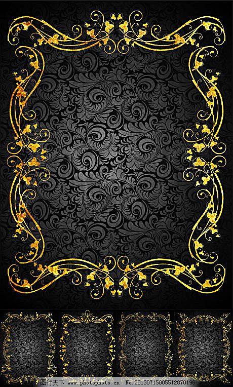 背景 典雅 古典 黑底 花纹 金边 金色 欧式 矢量素材 古典 金色 金边