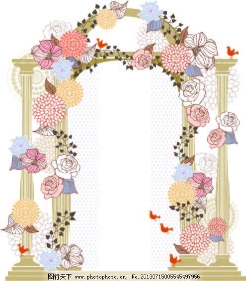 玫瑰 门 牡丹 欧式门 矢量素材 小鸟 花朵 门 欧式门 矢量素材 拱门