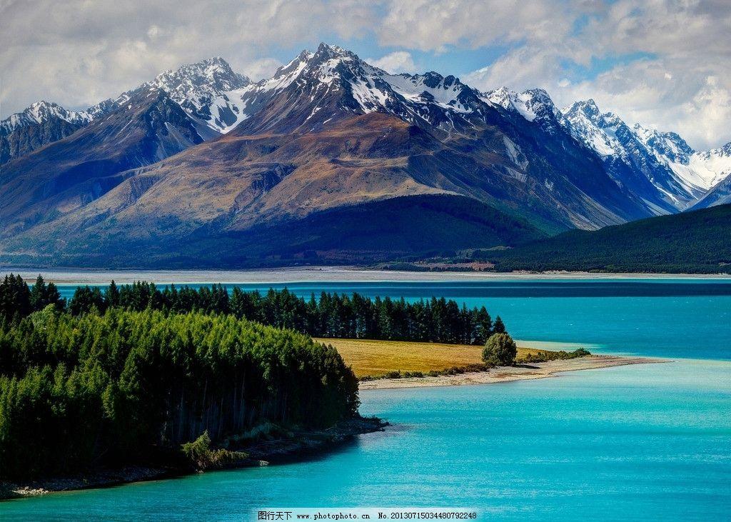 特卡波湖 新西兰 高山 森林 树木 雪山 静谧 摄影 景色 湖泊 山水风景
