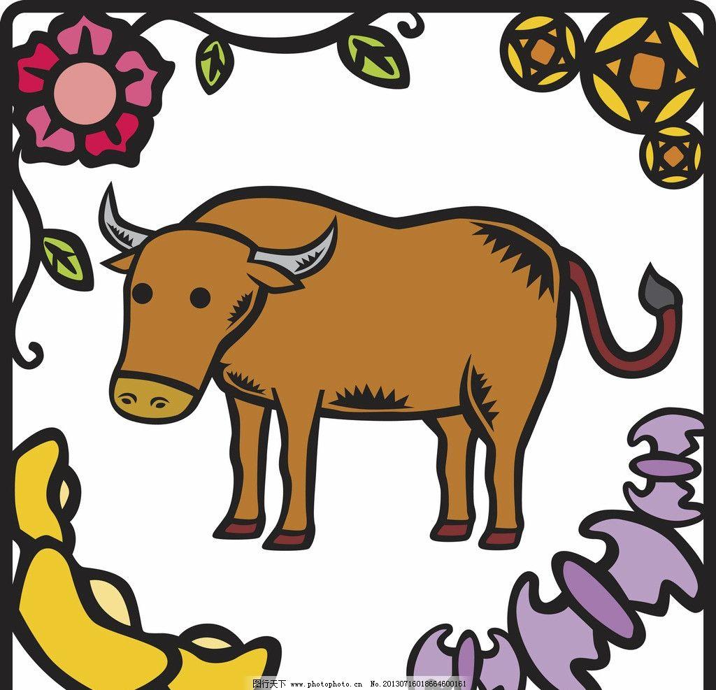 插画牛 牛 绘画 画画 彩绘 花 卡通 漫画 其他 动漫动画 设计 300dpi