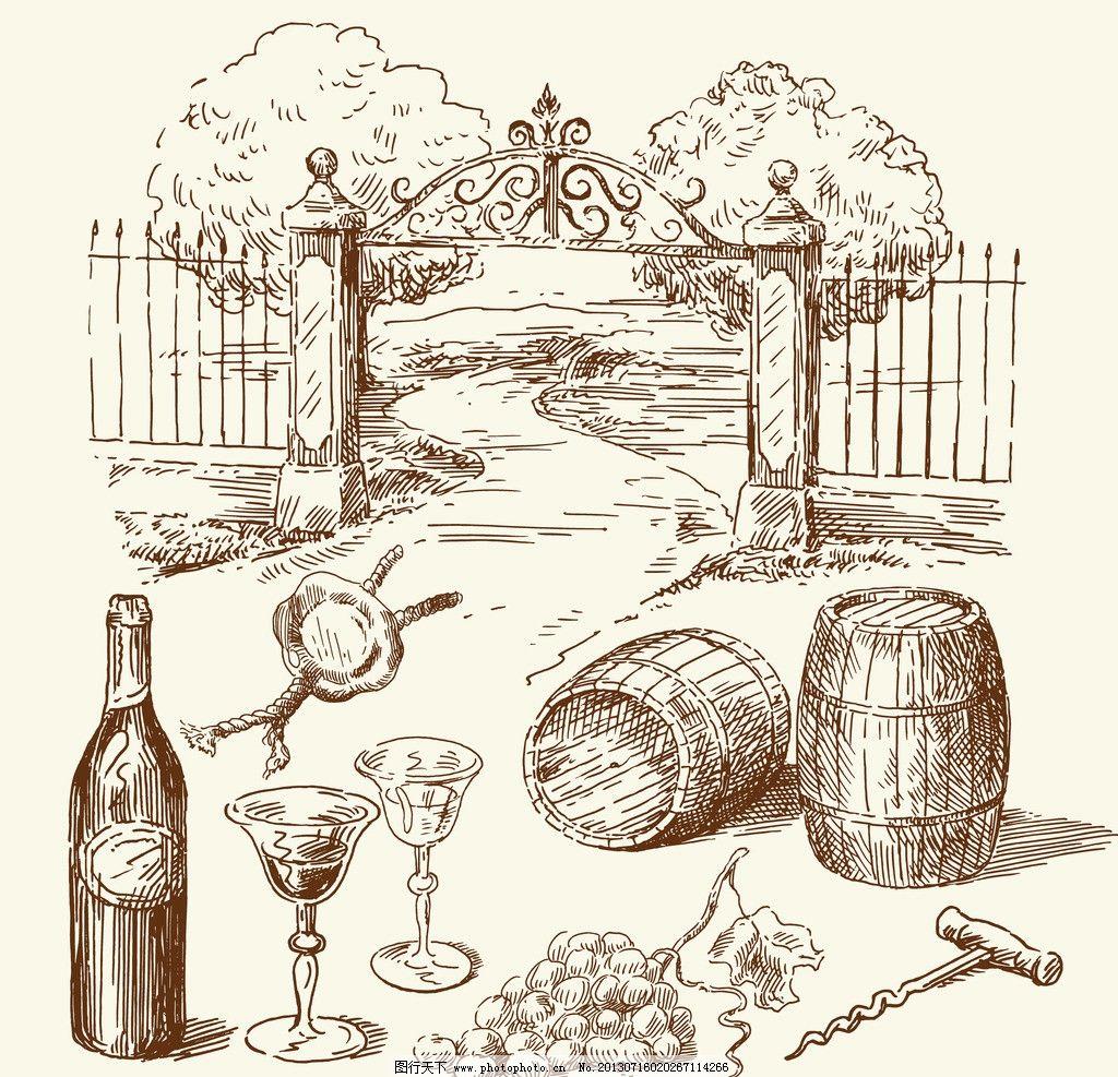 红酒木桶手绘图片