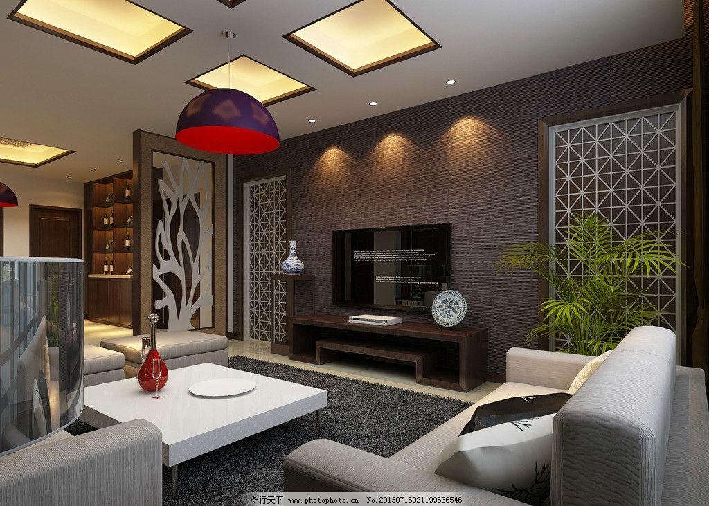 简中式客厅 简中式      花格 壁纸 铁刀木 沙发 3d设计 设计 72dpi图片