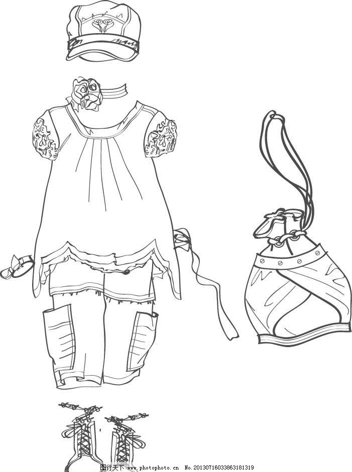 小童夏装款式图 夏装 款式 荷叶边 灯笼裤 短袖 短裤 帽子 矢量素材