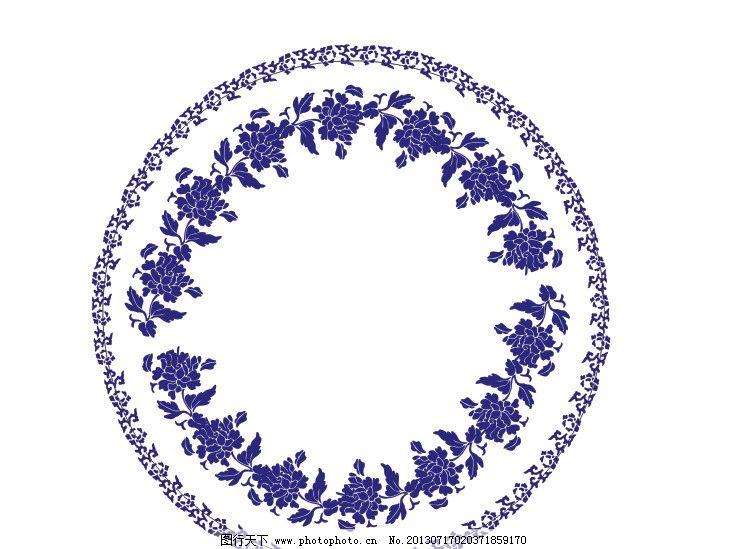 青花瓷 圆形 花纹 边框 圆盘 花纹花边 底纹边框 矢量 cdr