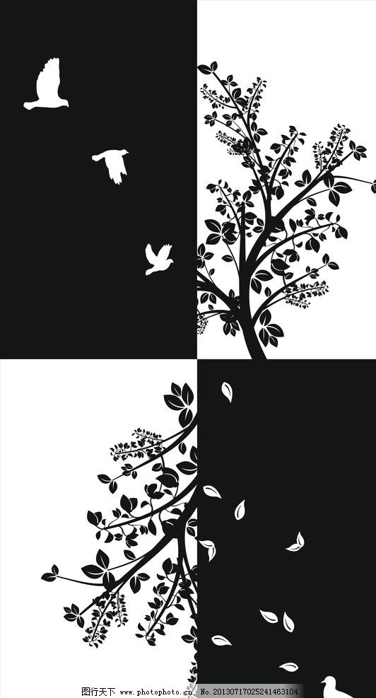 现代简易装饰画 黑白 鸽子 落叶 相间 现代装饰画 错位 树木 简易
