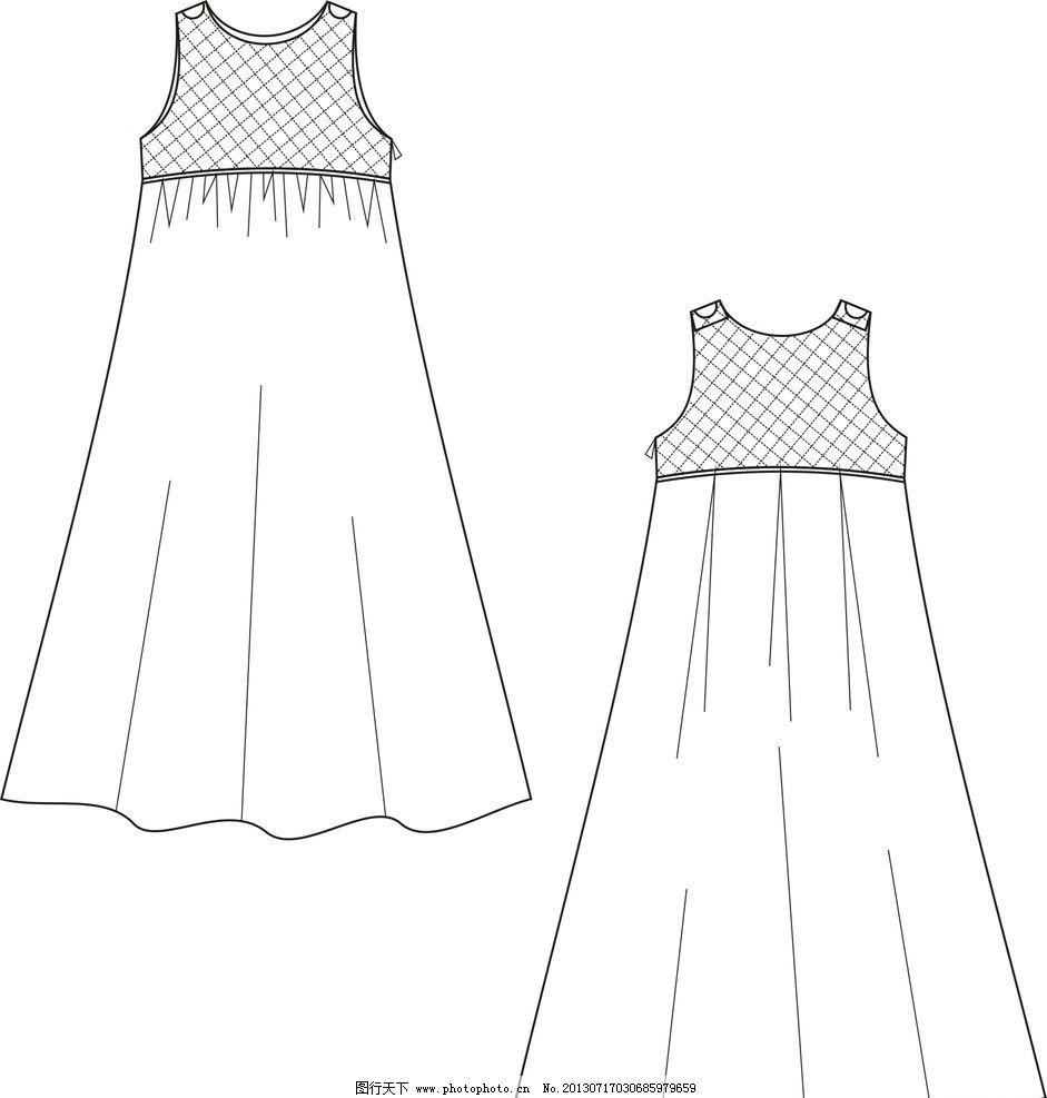 连衣裙 欧美风 简约款 网料 长款 服装设计 广告设计 矢量 cdr