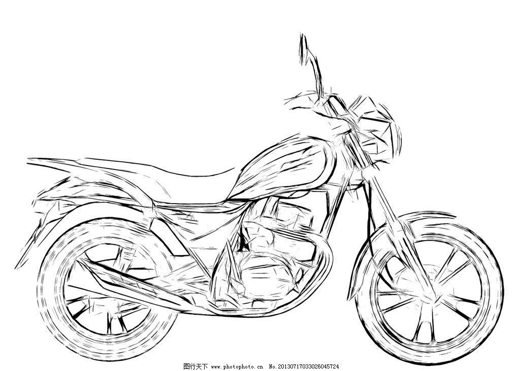 摩托车素描图片