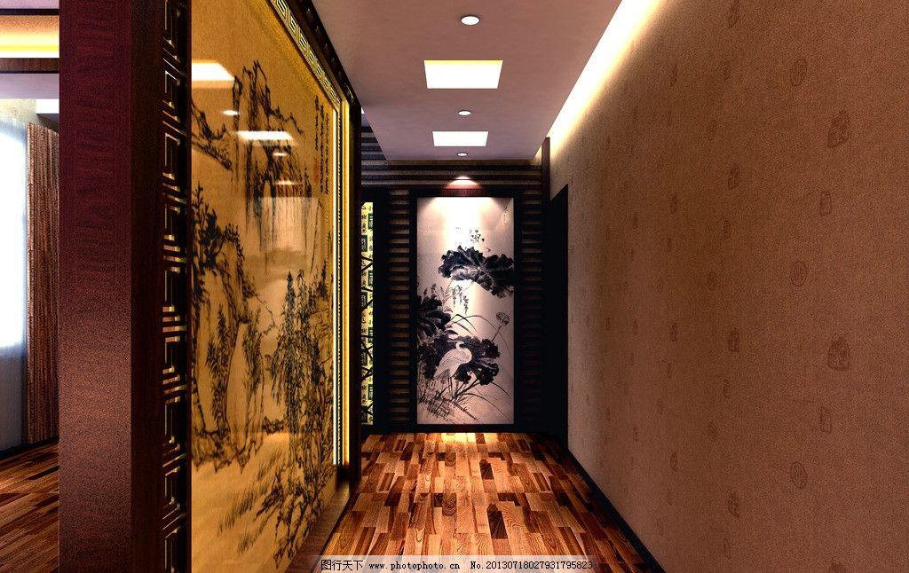 走廊 酒店 装修 工装 中式 壁画 过道 室内设计 环境设计 设计 72dpi