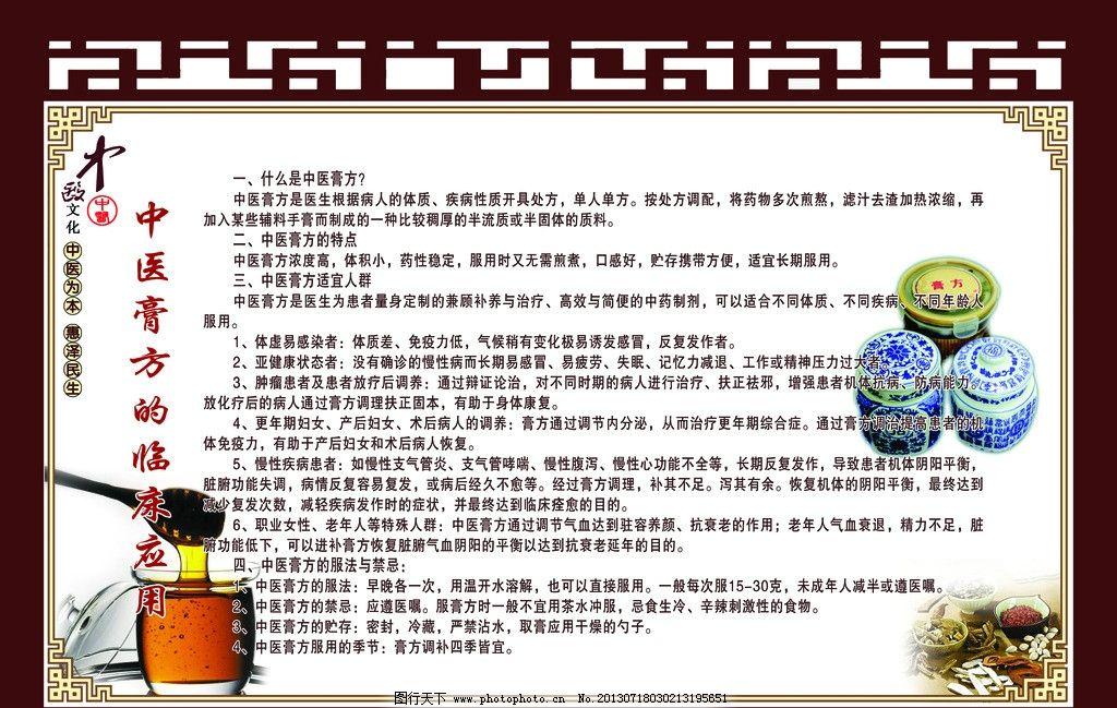 中医膏方宣传看板 中医风格 古典边框 中医膏方的临床应用 展板模板