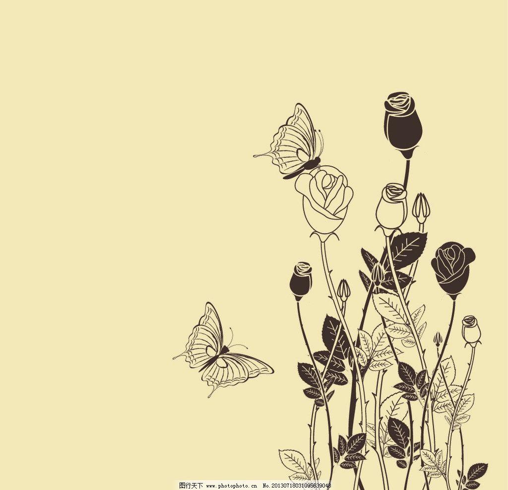 手绘蝴蝶花丛图片