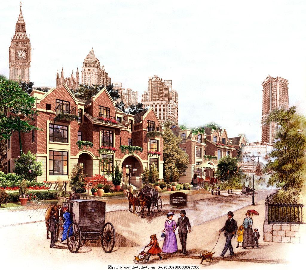 古典别墅 房地产 地产广告 别墅 手绘 油画 kv 欧式 古典 英国 贵族