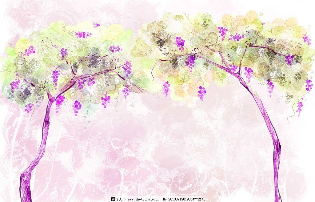 葡萄树 树 葡萄 藤蔓 紫色 唯美 卡通树 绘画书法 文化艺术 设计 300