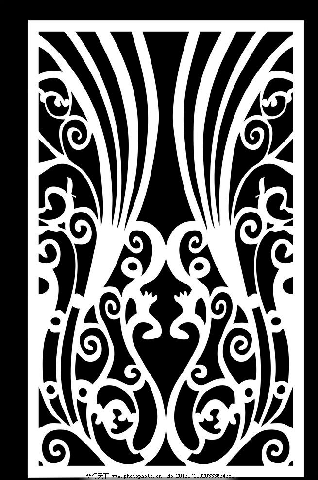 矢量 孔雀 孔雀雕花模板 隔断雕花 隔断 花纹隔断 木雕 镂空雕花 雕刻