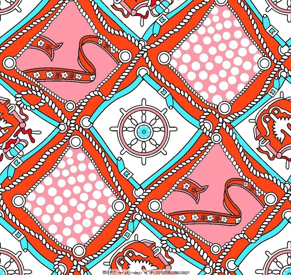 金昌印花 菱形 圆点 玫红 湖蓝 小花 家居服印花图案 花边花纹 底纹