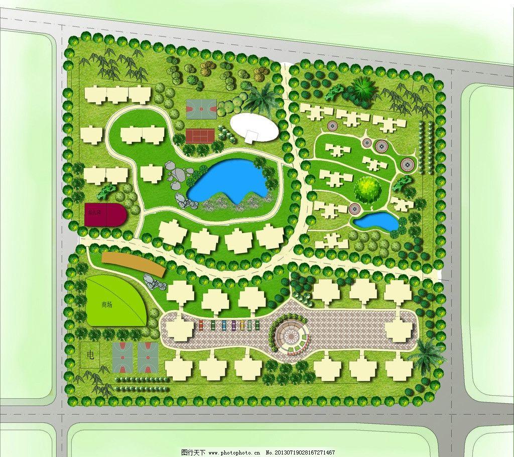 彩色平面图 彩平图 cad景观图 小区平面图 小区之路图 住宅小区 景观