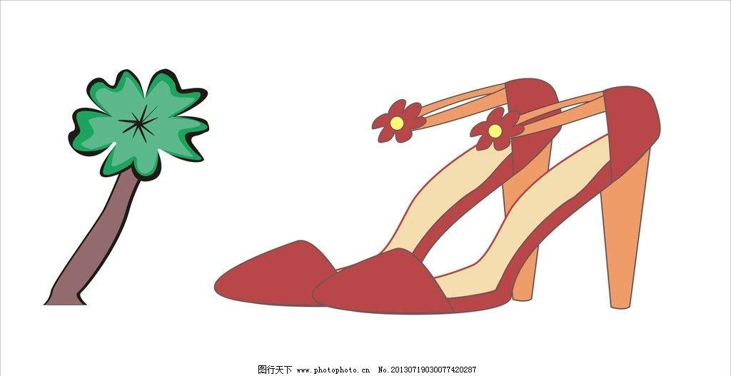 卡通高跟鞋 花朵 小树 红色凉鞋 树木 穿着管理规定 海报设计 广告