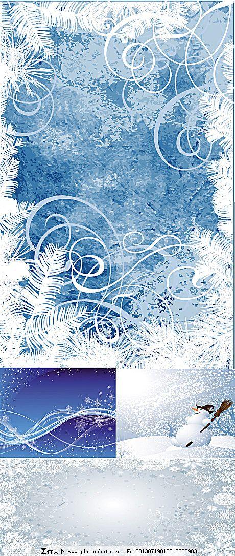 圣诞雪花背景矢量素材