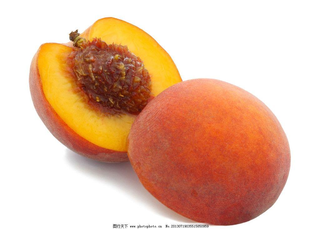 水果 果实 绿色食品 桃子 水蜜桃 切开 摄影图片