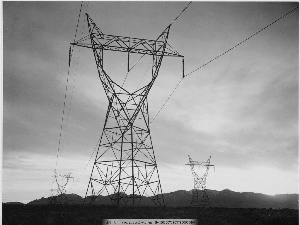 电塔 变电站 黑白水电站 电力 输电线 高压线 摄影