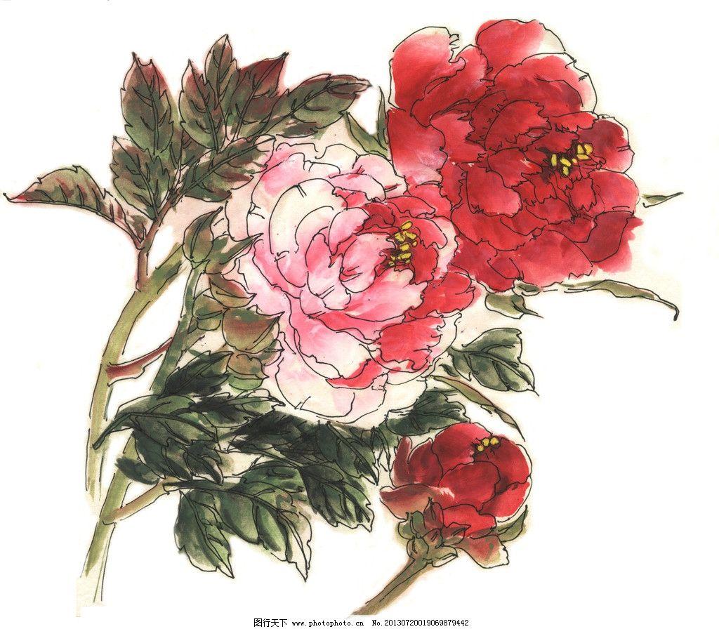 原创水彩手绘牡丹花图片