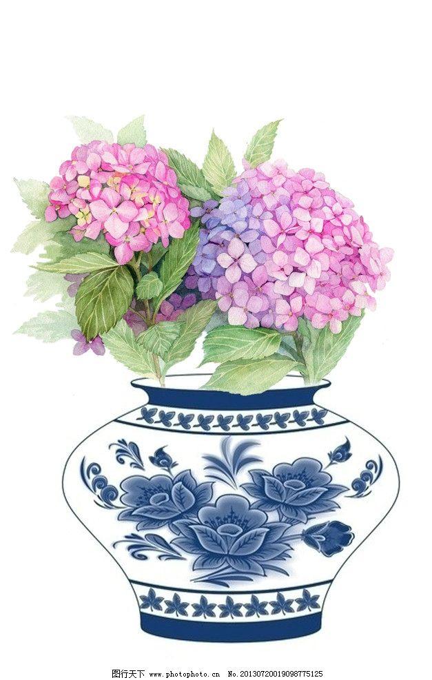 花朵静物绘画 青花瓷 瓷器 水彩花卉 花瓶 手绘花 绘画书法 文化艺术