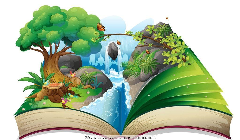 童话背景图片,花朵 树木 森林 绿草 草地 青草 卡通