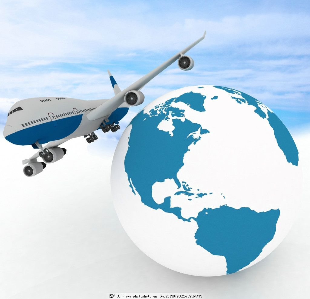 飞机 地球 星球 飞行 客机 现代科技 交通工具 设计 300dpi jpg