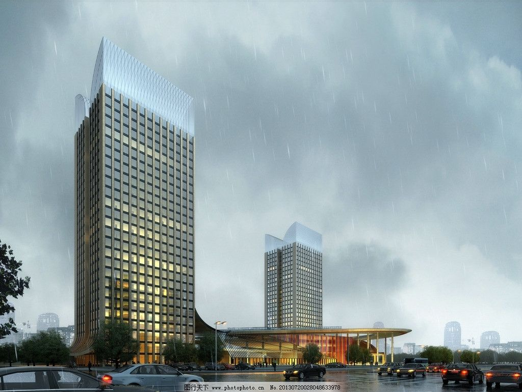 雨天高层办公楼图片 办公楼 高层 云层 街道 雨天 裙房 建筑设计 环境