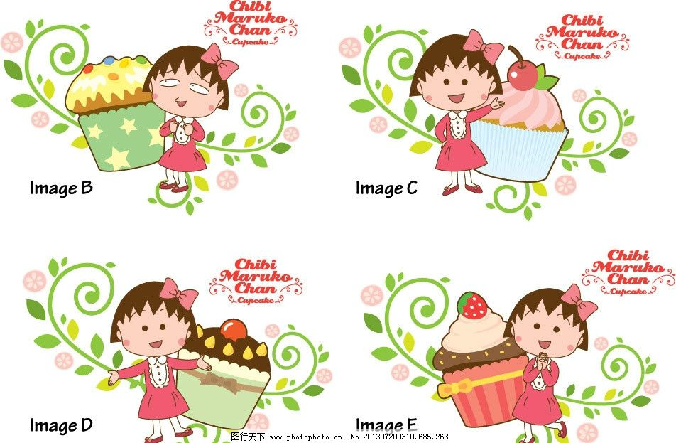 樱桃小丸子 卡通 可爱 小丸子背景 矢量人物 日本卡通人物 樱桃 草莓 水果 面包 甜品 其他设计 广告设计 矢量 AI