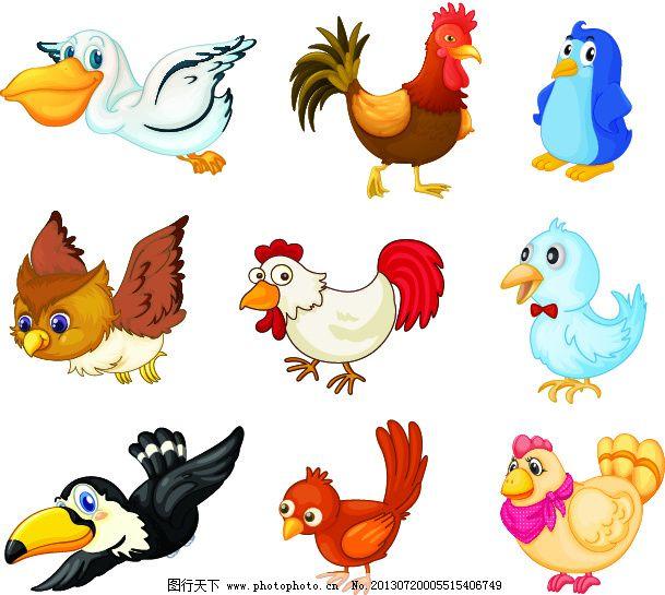 卡通矢量素材免费下载 卡通 母鸡 小鸡 小鸟 鸭子 卡通 小鸟 小鸡