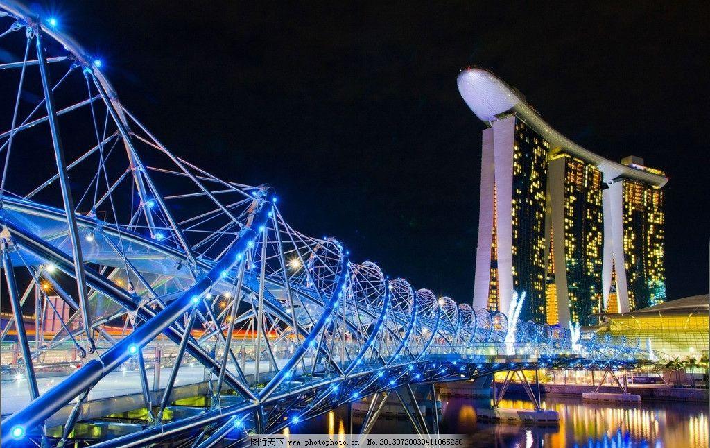新加坡 城市 建筑 夜景 滨海湾 金沙酒店 金沙湾酒店 世界著名建筑 双