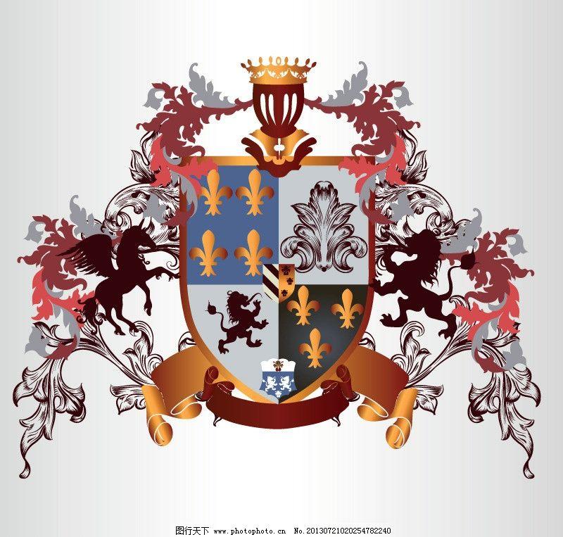 欧式花纹 图腾 狮子 皇冠 欧式边框 盾牌 武士 狮子矢量素材 野兽