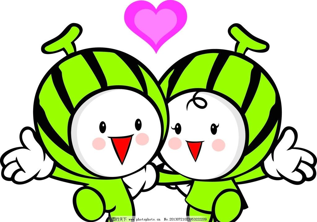 西瓜宝宝 西瓜 宝宝 卡通 可爱 兄弟俩 其他人物 矢量人物 矢量 ai