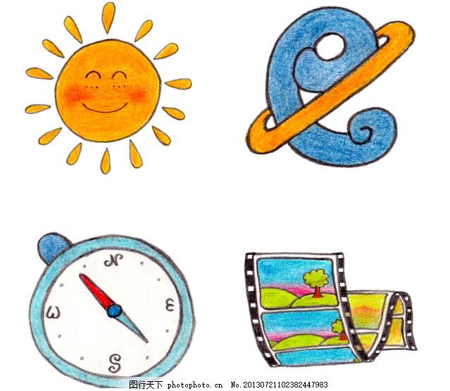 可爱儿童画 太阳 画 涂鸦 指南针 png 白色