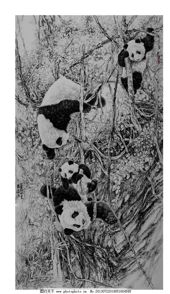 熊猫 工笔画 水墨画 国宝 枯树 雪 动物 绘画书法 文化艺术 设计 150