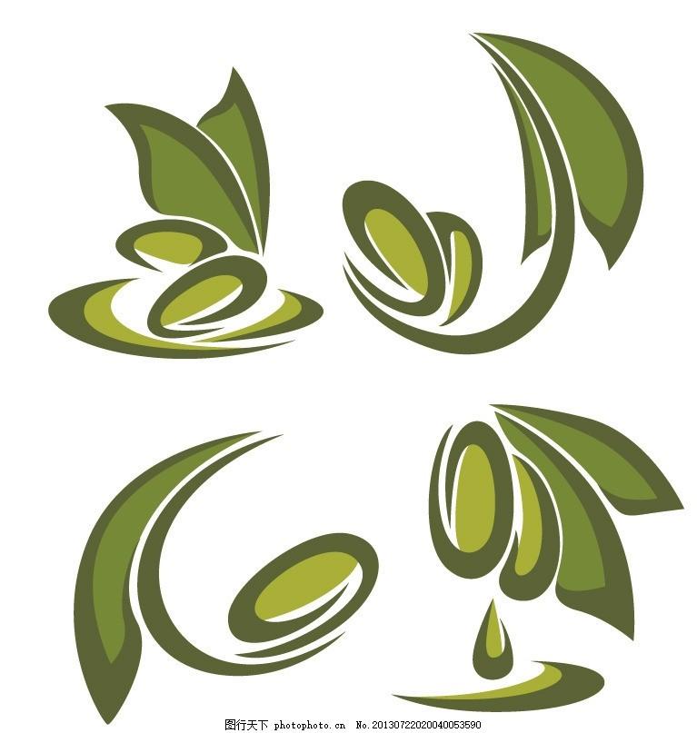 绿叶图标,环保 树叶 橄榄 矢量素材 小图标 标识标志