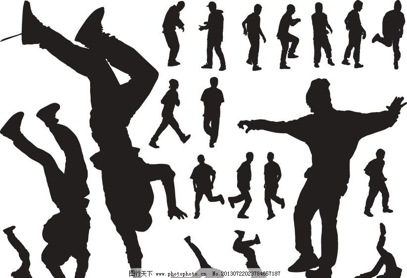 艺术 跳跃舞蹈 武术 舞 动感 街舞 人物剪影 剪影 动作剪影 人物素材