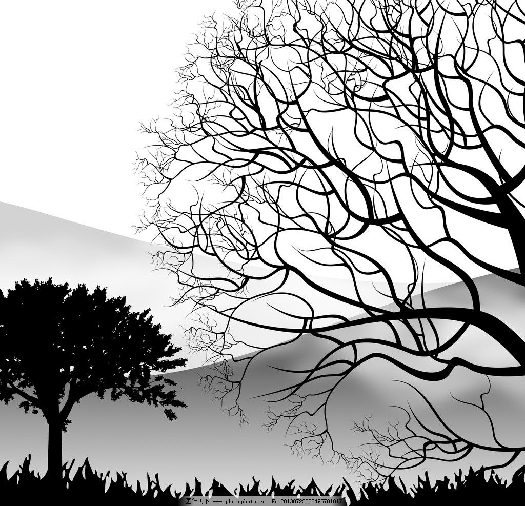 风景抽象画 无框画 装饰画 风景画 新无框画 新设计 树木 黑白 环境