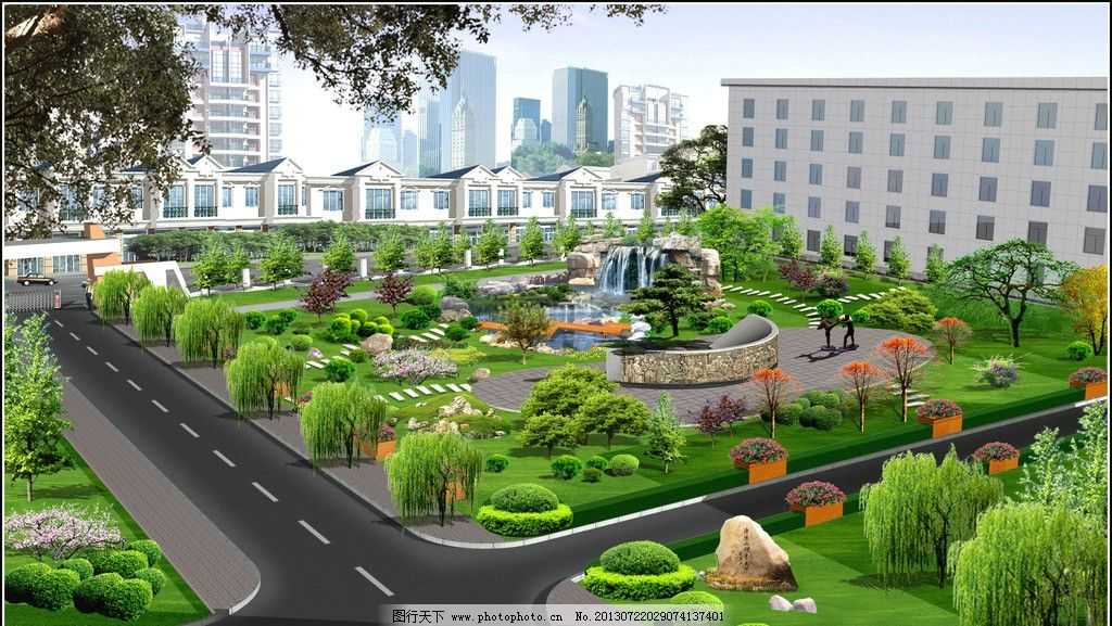 小区景观效果图 假山 景观 流水 小桥 花池 其他设计 环境设计 源文件