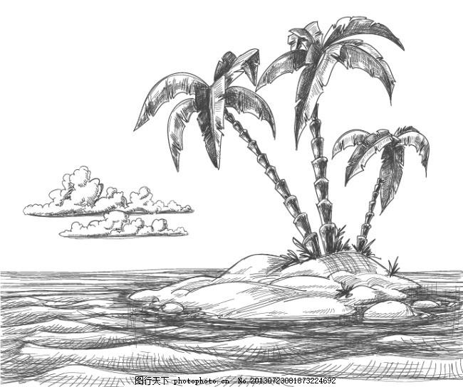 铅笔画海岛