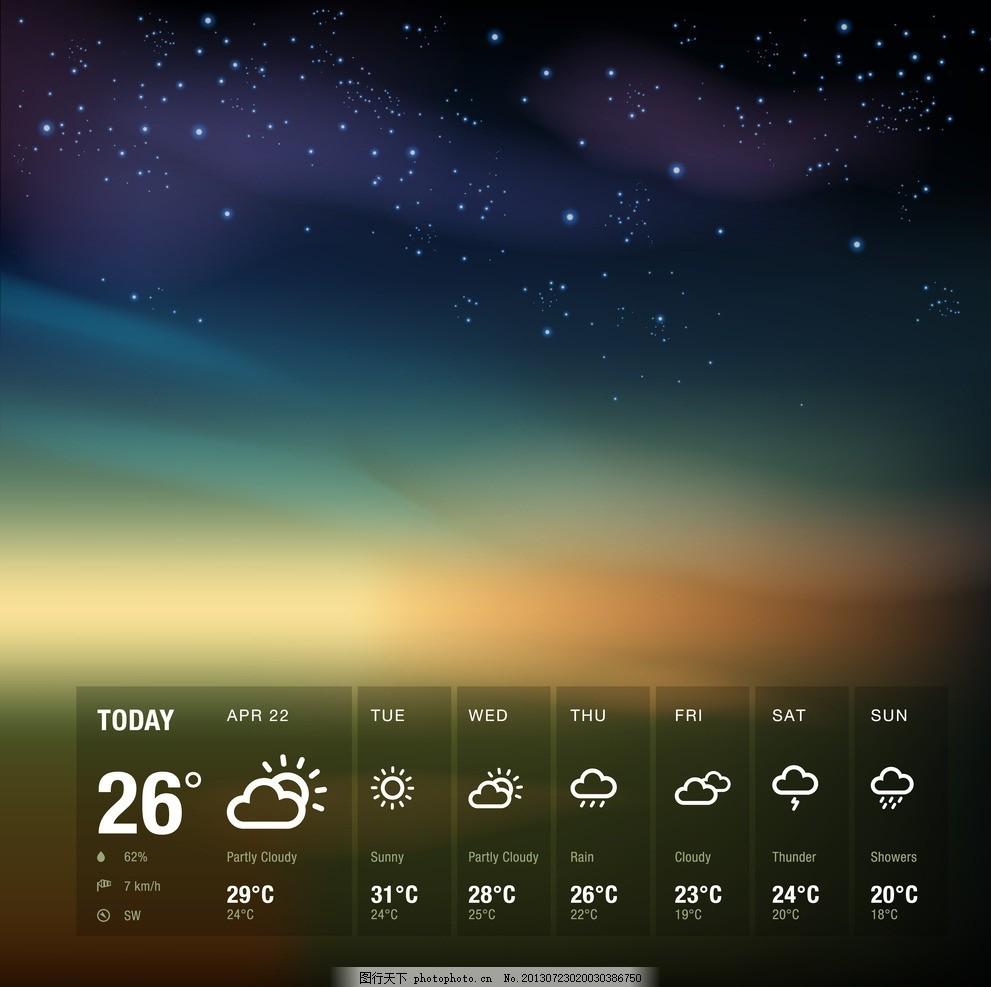 天气图标 天气预报 云 雷阵雨 晴朗 多云 风 转晴 毛毛雨 薄雾