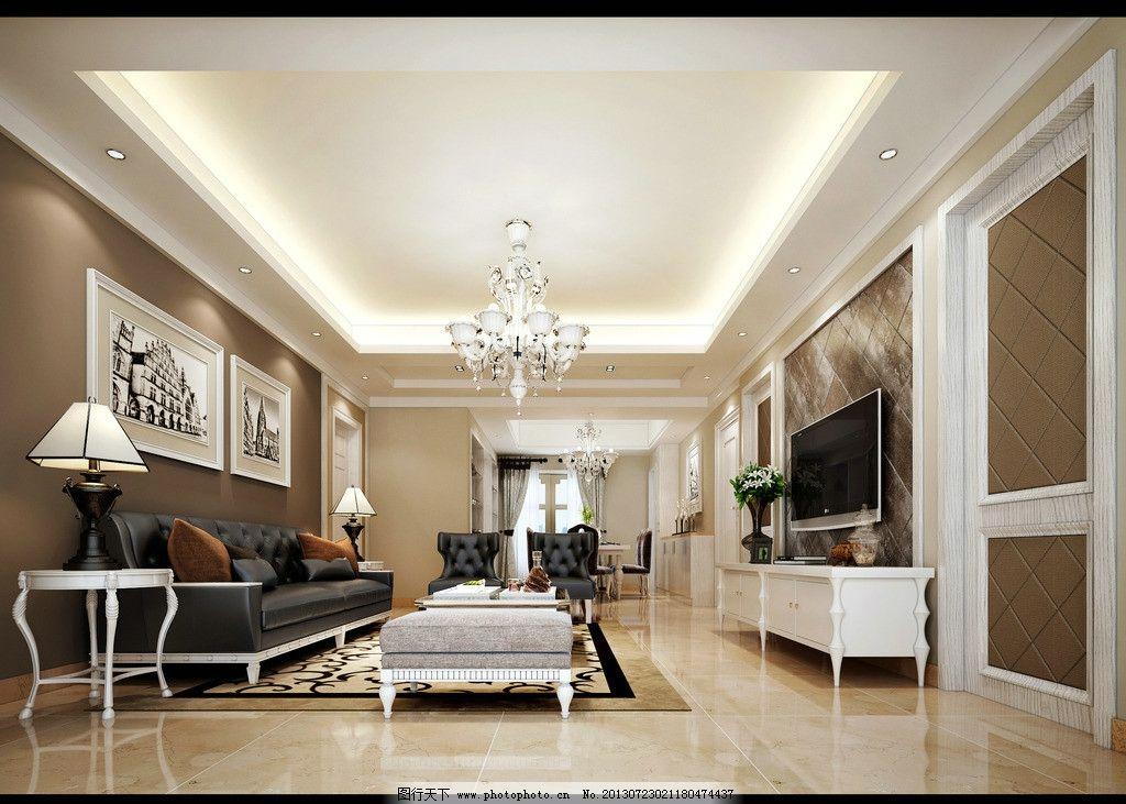 客厅效果图 客厅效果 装潢 家装 欧式风格 沙发 吊灯 地毯 电视机 3d