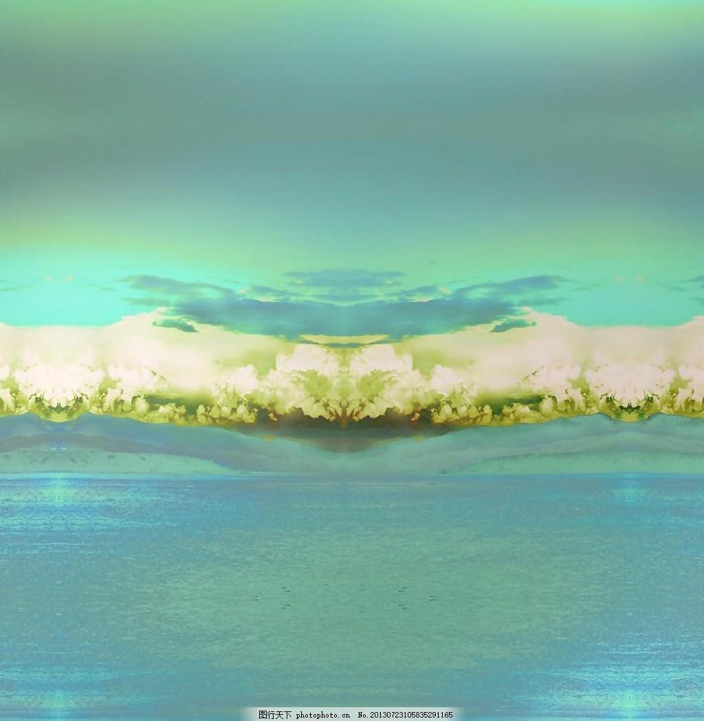位图 定位花 风景画 免费素材 面料图库 服装图案 免费下载 青色