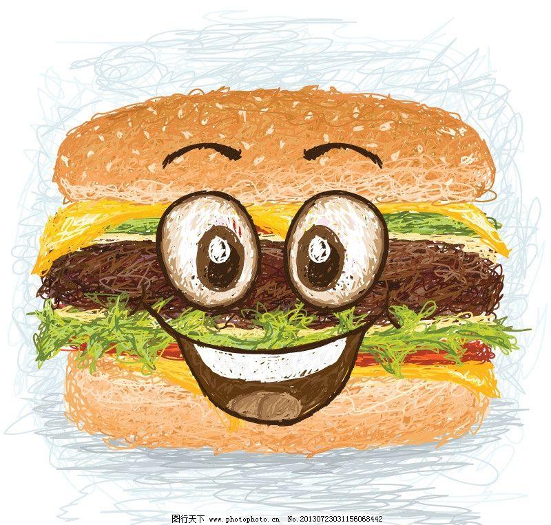 手绘汉堡包图片