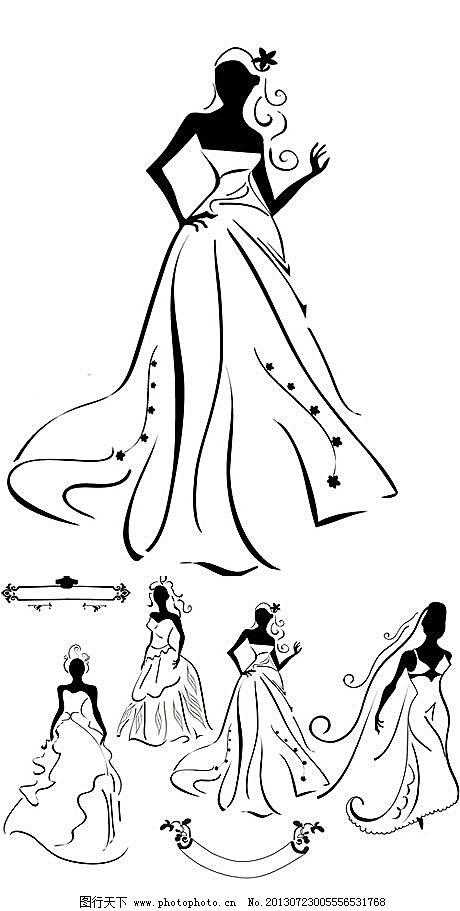新娘婚纱经典黑白矢量人物素材
