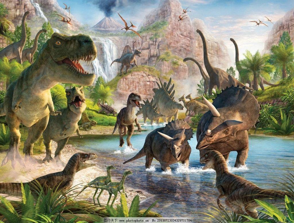 恐龙远古时代图 恐龙 远古 山水 动物 野生 打斗 爆炸 大山 战争 设计