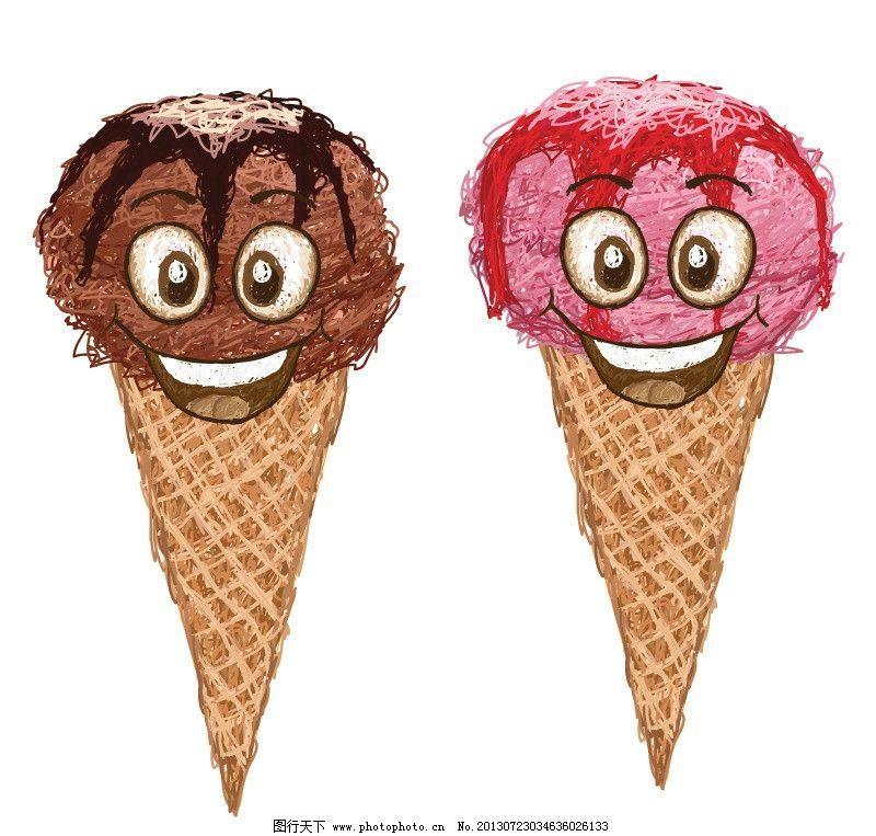 手绘水果 手绘冰淇淋 冷饮 蛋筒 卡通冰淇淋 矢量 ai 餐饮美食素材