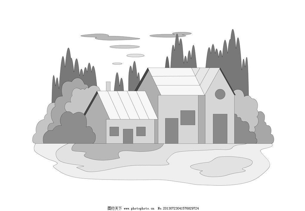 手绘 房屋图案 手绘图案 新颖图案 装饰图案 装饰图形 童话小屋 房子