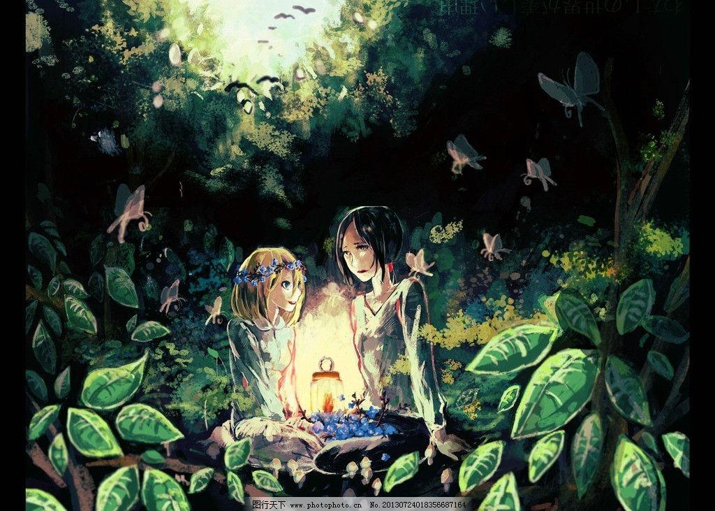 林间人物 树林 动漫场景 手绘 进击的巨人 女孩 动漫壁纸 高清壁纸